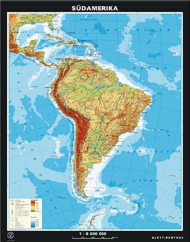 Juzna Amerika Vseobecnogeograficka Mapa Zadna Strana Staty