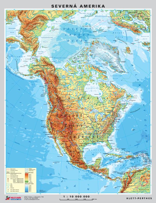 mapa amerike Mapa Severnej Ameriky, obojstranná   DUO, predná strana všeobecno  mapa amerike